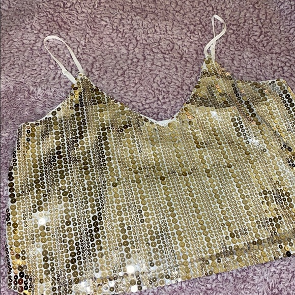 Forever 21 Tops - Sequins silver & gold tank top